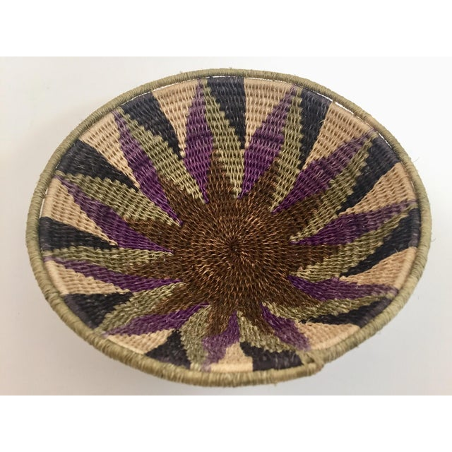 Native American Polychrome Seagrass and Silk Woven Basket For Sale - Image 4 of 12