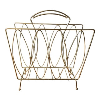 Vintage Brass Magazine Rack