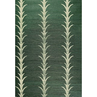 Schumacher X Celerie Kemble Acanthus Stripe Wallpaper in Shadow For Sale