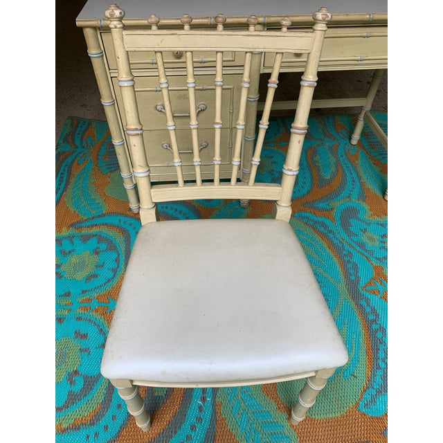 1960s Vintage Regency Thomasville Faux Bamboo Desk Set- 2 Pieces For Sale - Image 11 of 12