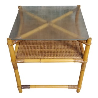 1950s Mid-Century Modern Bamboo Corner Table For Sale