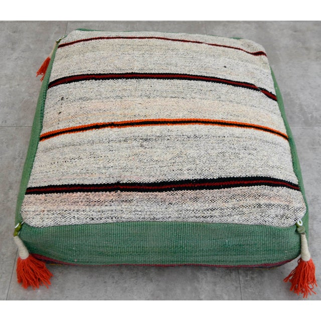 2010s Turkish Hand Woven Floor Cushion Cover For Sale - Image 5 of 7