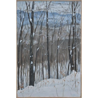 "Stephen Remick ""Snowy Mountains Through Bare Trees"" Contemporary Landscape Painting For Sale"