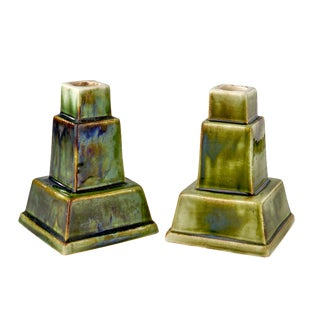 Art Deco Ceramic Candle Holders - a Pair For Sale