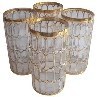 Vintage Gold Spanish Windows Cocktail Glasses For Sale