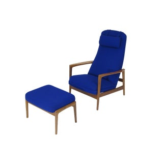 Folke Ohlsson for DUX Walnut Rocking Lounge Chair in Cobalt Blue Wool