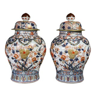Pair of Samson Export Style Covered Temple Jars For Sale