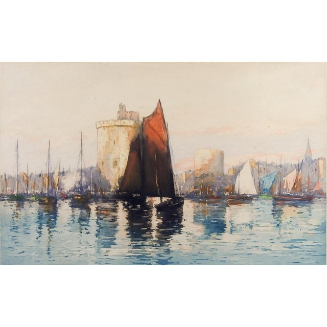 Circa 1910 aquatint etching of French harbor by Emile Richard Haumont (French, 19th/20th Century). Signed, numbered in...