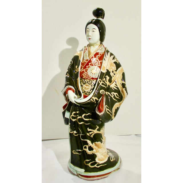 Japanese Kutani Porcelain Geisha Figure For Sale - Image 12 of 12