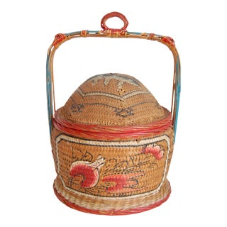 Vintage Boho Asian Fishing Creel Basket For Sale