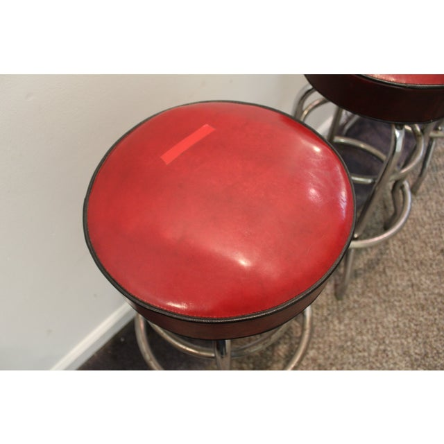 Mid Century Modern Swivel Bar Stools -- Set of 3 - Image 7 of 11