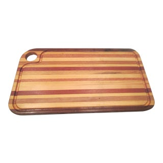 1970's Artisan Hardwood Butcher Block Countertop Cutting Board For Sale