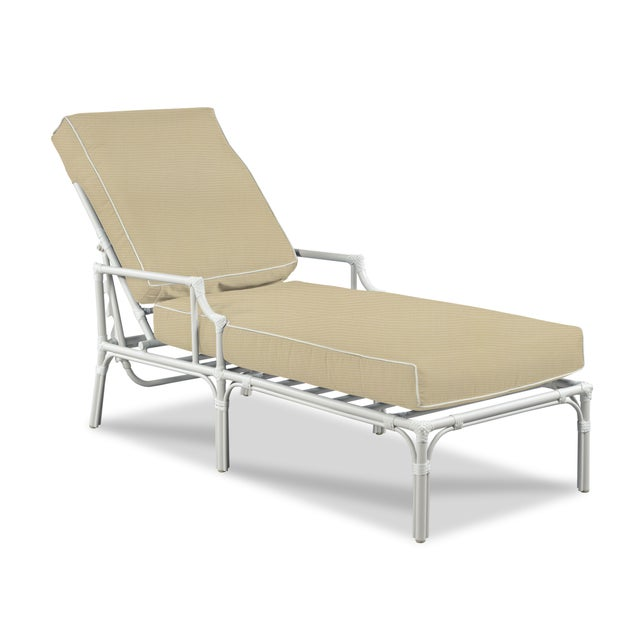 Traditional Haven Outdoor Chaise, Antique Beige and White For Sale - Image 3 of 3