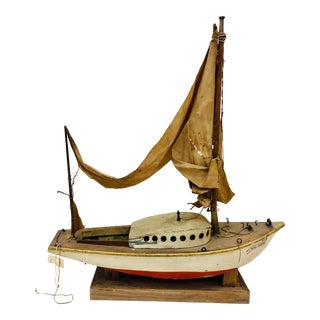Antique Hand Made Model Sail Boat For Sale
