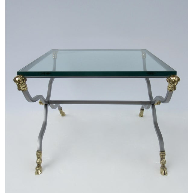 Gold C.1960s-70s Hollywood Regency Italian Brass, Steel and Glass X-Frame, Side Table, Attr. To Maison Jansen For Sale - Image 8 of 13