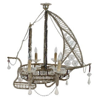Maison Bagues Beaded Ship-Form Chandelier For Sale