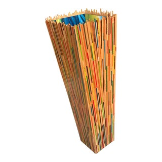Chopstick Covered Large Floor Art Vase, by Paul Hughes For Sale