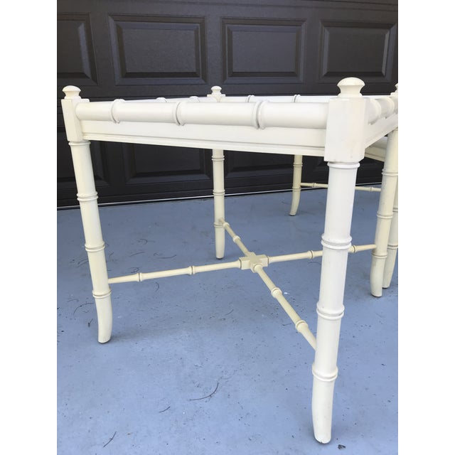 Light Yellow Clear Glass Vintage Chinoiserie Thomasville Faux Bamboo Coffee Table and Two Side Tables - Set of 3 For Sale - Image 8 of 8