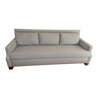 Edward Ferrell Modern Nailhead Detail Sofa With Roma Grey Herringbone Upholstery For Sale