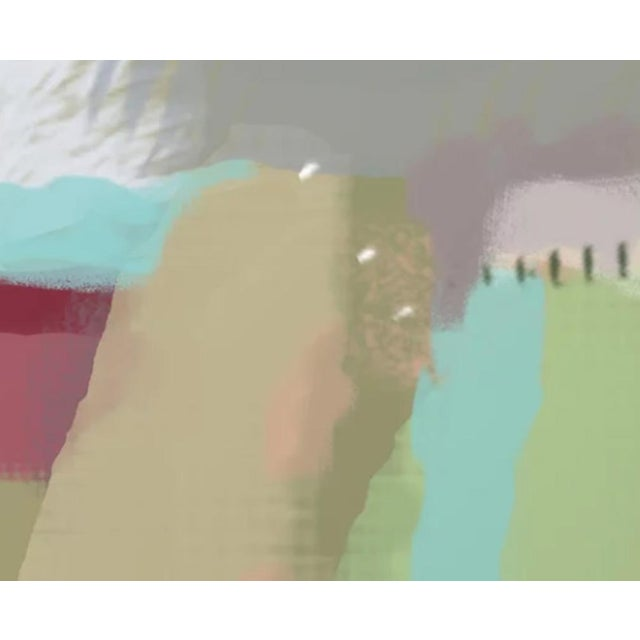Abstracted landscape featuring fields, trees and brooding sky. Made to order. Printed on 100% cotton archival paper....