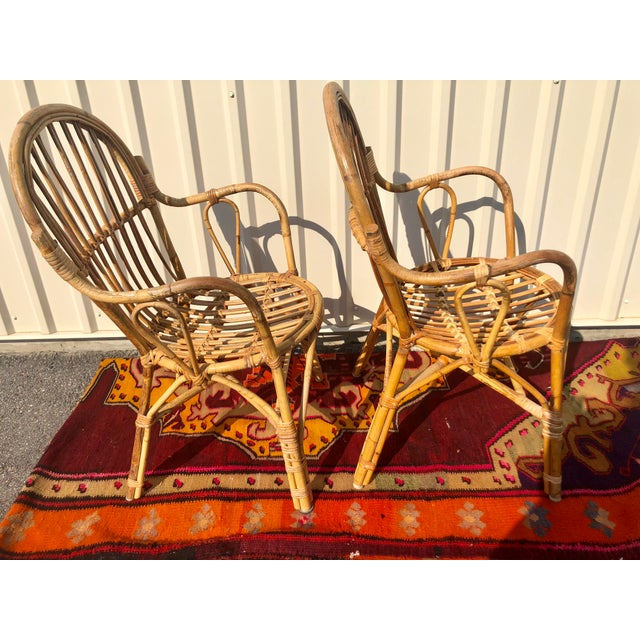 Albini Style Bamboo Rattan Bistro Chairs- a Pair For Sale - Image 9 of 13