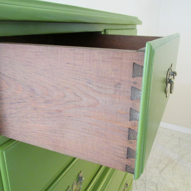 1940s Painted Green Eight Drawer Chest on Chest Dresser For Sale - Image 9 of 10