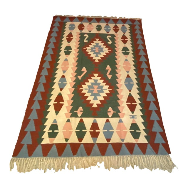 Vintage Handwoven Wool Flat Weave Fringed Turkish Rug For Sale