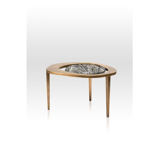 Art Deco Peacock Nesting Coffee Table in Cream Shagreen and Brass by R&y Augousti For Sale - Image 3 of 9