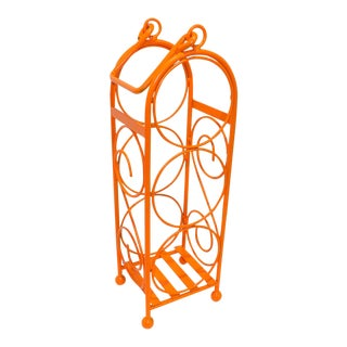 Contemporary Orange Metal Wine Bottle Rack