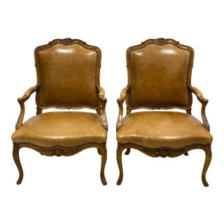 French Style Italian Leather and Carved Fruitwood Chairs - a Pair For Sale