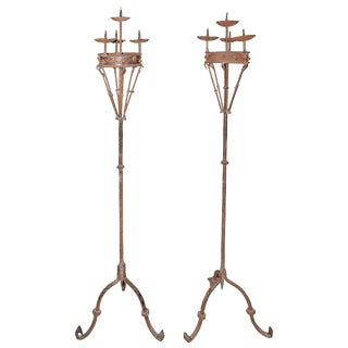 Pair of Early 19th Century Spanish Forged Iron Candleholders For Sale