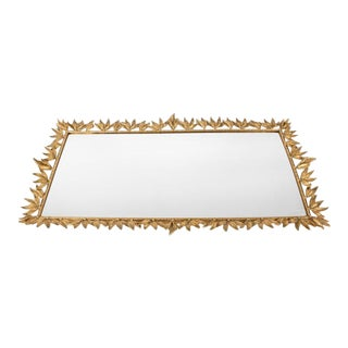 Large Vintage Gilded Brass Deco Vanity Mirrored Tray For Sale