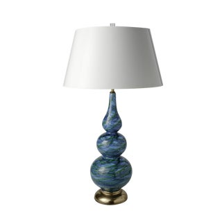 Blue Glazed Ceramic Table Lamp For Sale