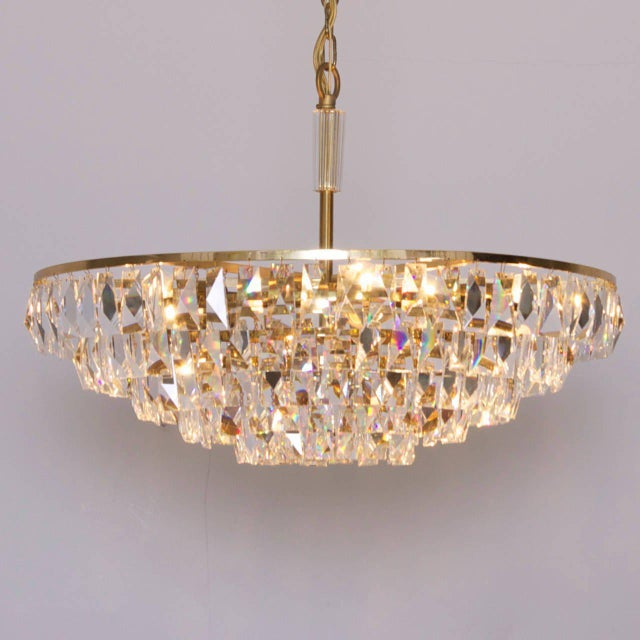 Gold Extraordinary Huge Palwa Gilded Brass and Crystal Glass Chandelier For Sale - Image 8 of 8