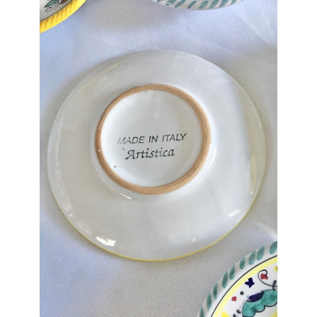 Late 20th Century Artistica Italian Majolica Espresso Cups and Saucers - Set of 9 For Sale - Image 5 of 13
