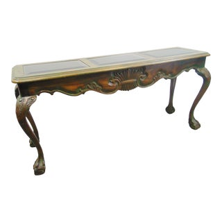 Chippendale Style Carved Oak Console Table For Sale
