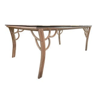 Vintage Rattan Glass Top Dining Table For Sale