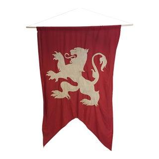 Antique Lion Banner - Vintage Prop Set Decoration For Sale