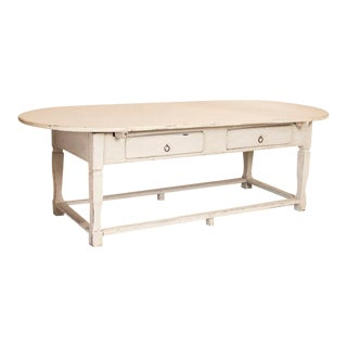 Antique Large White Painted Oval Farm Table Work Table From Sweden For Sale