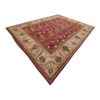 Late 19th Century Antique Indian Hunting Design Agra Rug-14′6″ × 18′8″ For Sale