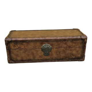 20th Century Traditional Maitland Smith Leather Trunk For Sale