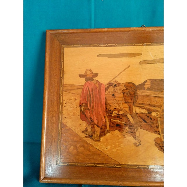 Vintage Arts & Crafts Inlaid Wood Picture For Sale - Image 5 of 5