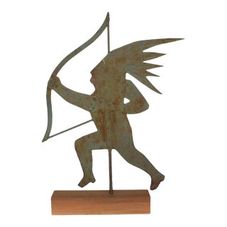Early 20th Century Silhouette Native American Style Figure Metal Weathervane For Sale