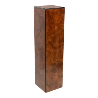 Drexel Heritage Pedestal in Burl Wood with Black Edge Detail For Sale