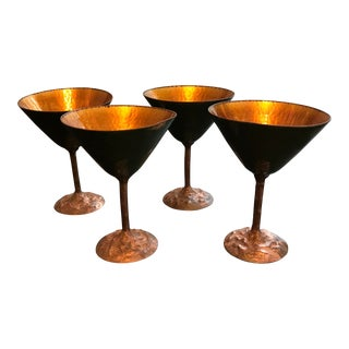 Vintage Mid-Century Hand Forged Copper Enamel Cocktail Glasses - Set of 4 For Sale