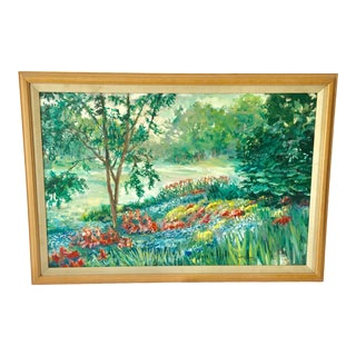1988 LaRovere Rolling Garden Canvas Painting For Sale