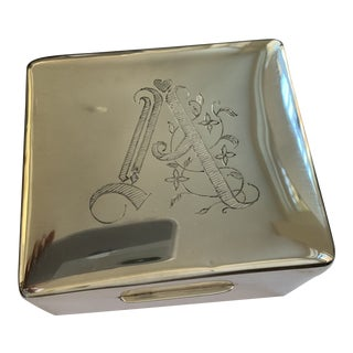 "Antique Solid Silver Engraved ""A"" Box For Sale"