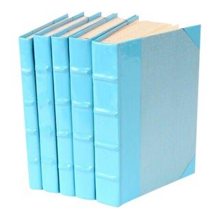 Patent Leather Light Blue Books - Set of 5 For Sale