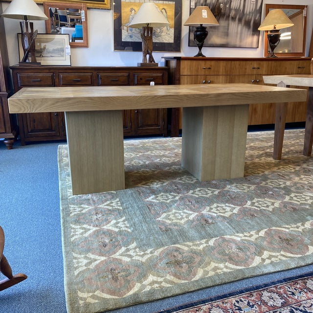 Tan Custom Modern Oak Inlay Dining Table For Sale - Image 8 of 13