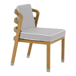 Linley Dining Side Chair in Fashionable Grey with Nice White Welt For Sale